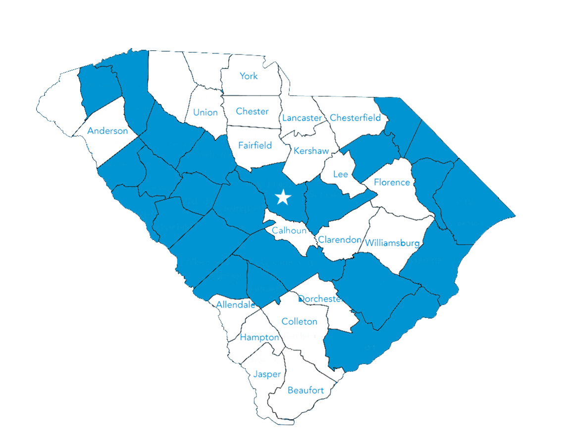 Map of SC with the 19 counties participating in SCLENDS highlighted